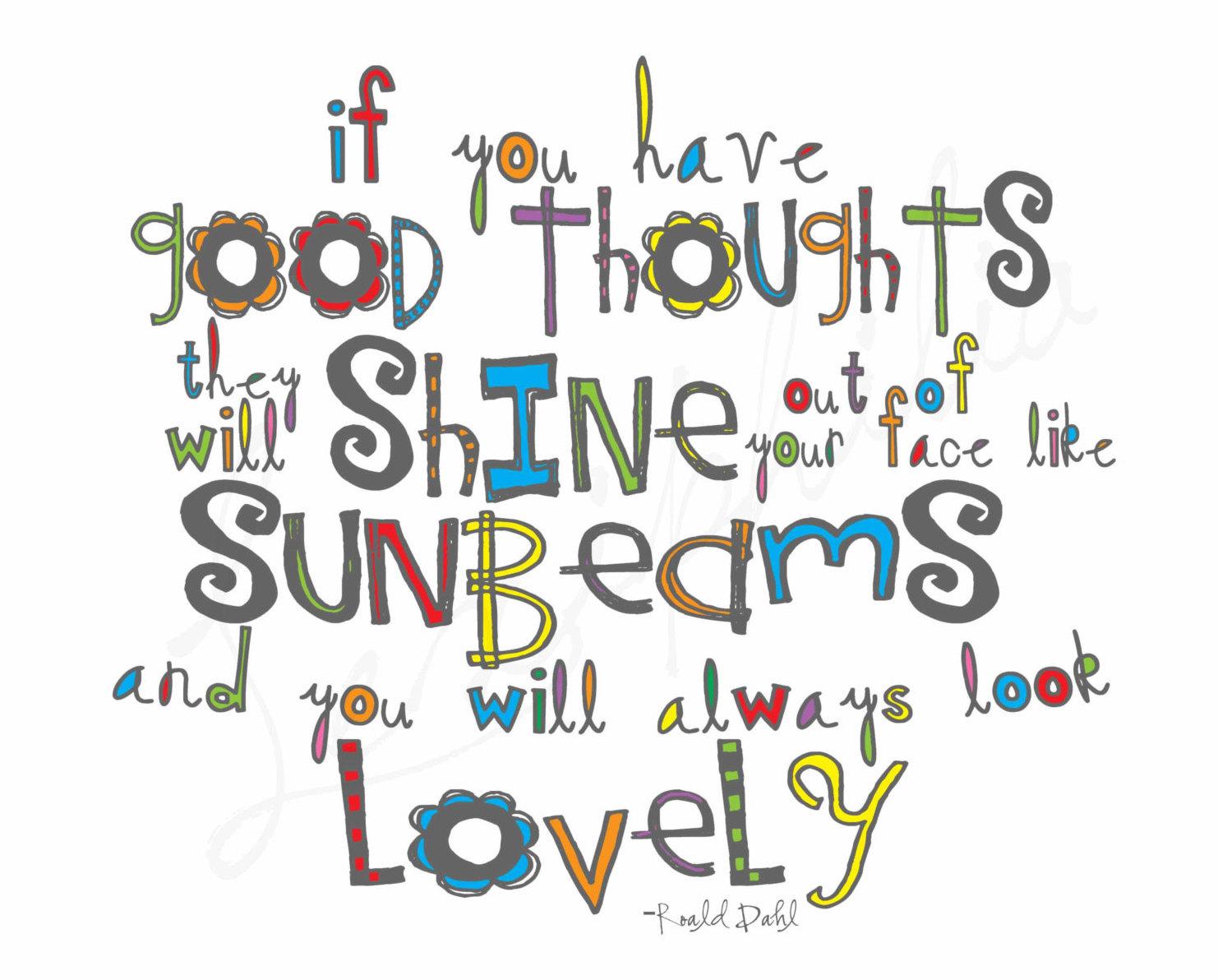 Matilda Roald Dahl Good Thoughts Sunbeam Quote Sign Etsy